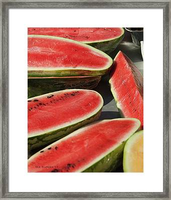 Framed Print featuring the photograph Market Melons by Michael Flood