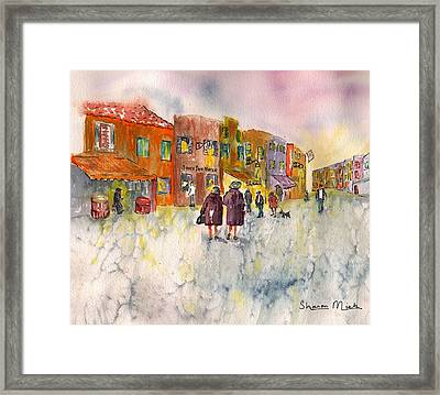 Framed Print featuring the painting Market Place In Borano by Sharon Mick
