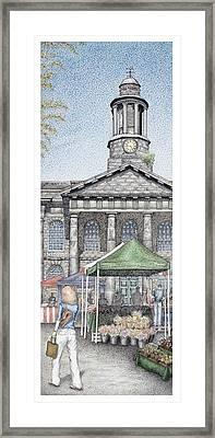Market Square Clock  Lancaster  Lancashire Framed Print