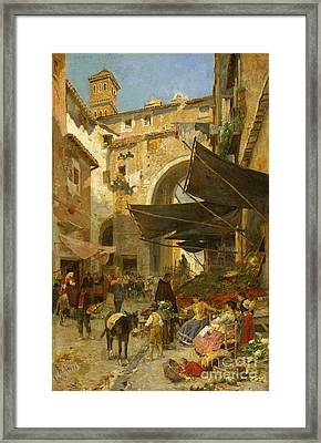 Market Stands In Rome Framed Print by MotionAge Designs