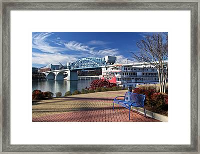 Market Street Bridge With The Delta Queen From Coolidge Park Framed Print by Tom and Pat Cory