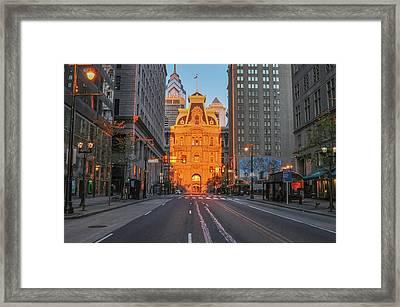 Market Street - City Hall Lit Up By The Morning Light Framed Print