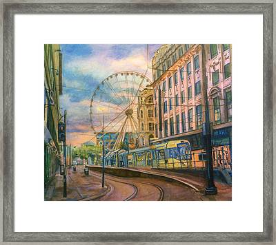Market Street Metrolink Tramstop With The Manchester Wheel  Framed Print