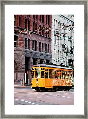 Framed Print featuring the photograph Market Streetcar - San Francisco by Melanie Alexandra Price