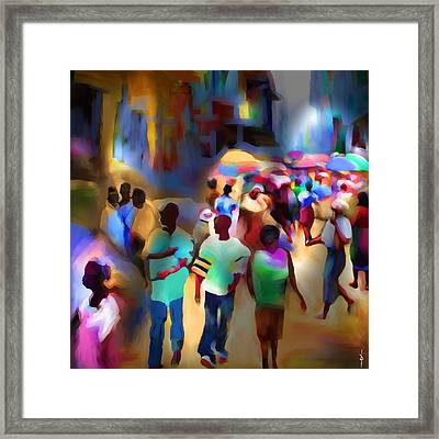 Marketplace At Night Cap Haitien Framed Print by Bob Salo