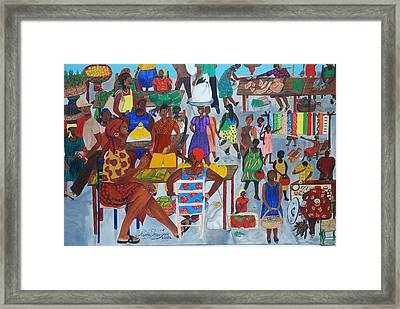 Framed Print featuring the painting Marketplace Jacmel Haiti by Nicole Jean-Louis