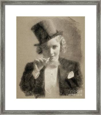 Marlene Dietrich, Vintage Actress By John Springfield Framed Print