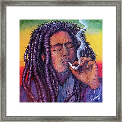 Framed Print featuring the painting Marley Smoking by David Sockrider