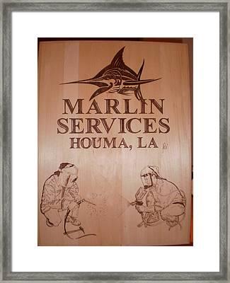 Marlin Services - Pyrography Framed Print by John Pitre