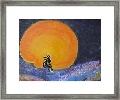 Marmalade Orange And Yellow Moon And Kokopelli Framed Print by Anne-Elizabeth Whiteway