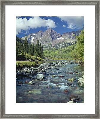 210404-maroon Bells And Creek  Framed Print