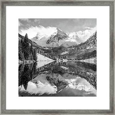 Maroon Bells - Aspen Colorado - Monochrome - American Southwest 1x1 Framed Print by Gregory Ballos