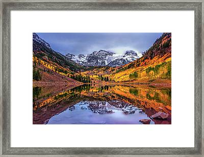 Maroon Bells Autumn Framed Print by Andrew Soundarajan