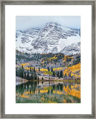 Maroon Bells Cloudy Fall Framed Print by Darren White