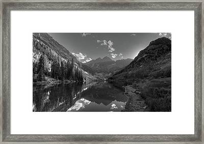 Maroon Bells Colorado B W Framed Print by Steve Gadomski