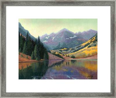 Maroon Bells In October Framed Print by Janet King