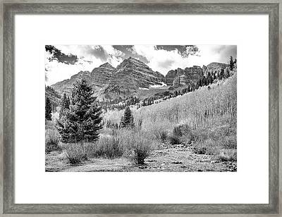 Maroon Bells Monochrome Framed Print by Eric Glaser