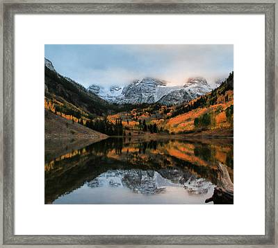 Maroon Bells Reflection In Autumn Framed Print by Dan Sproul