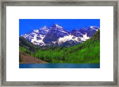 Maroon Bells Summer Color Oil Framed Print by Dan Sproul