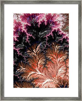 Maroon, Black And Orange Fractal Design Framed Print