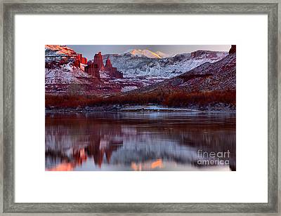 Maroon Fisher Towers Framed Print by Adam Jewell