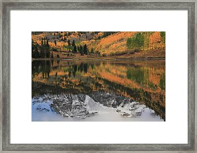 Maroon Lake Autumn Reflections Framed Print by Dan Sproul