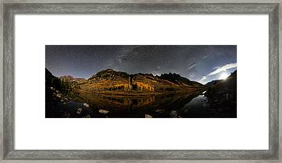 Maroon Lake Milky Way Panorama Framed Print by Mike Berenson