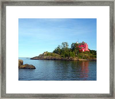 Marquette Harbor Lighthouse Reflection Framed Print