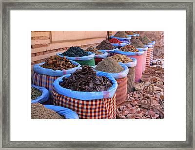 Framed Print featuring the photograph Marrakech Spice Market by Ramona Johnston