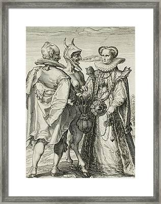 Marriage For Money Framed Print by Jan Saenredam