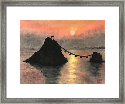 Married Couple Rocks At Sunset Framed Print