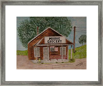 Framed Print featuring the painting Marrs Country Grocery Store by Kathy Marrs Chandler