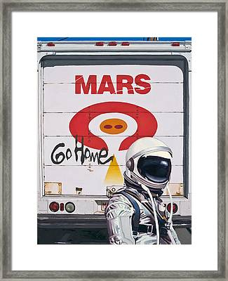 Framed Print featuring the painting Mars Go Home by Scott Listfield