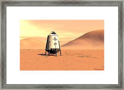 Framed Print featuring the digital art Mars Lander Ares First Steps by David Robinson