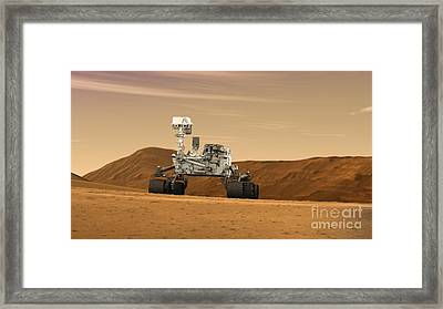 Mars Rover Curiosity, Artists Rendering Framed Print by NASA/Science Source