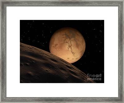 Mars Seen From Its Outer Moon, Deimos Framed Print