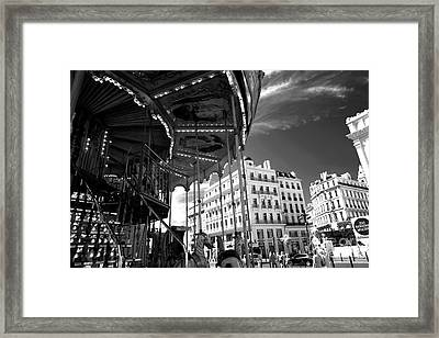 Marseille Carousel View Framed Print by John Rizzuto