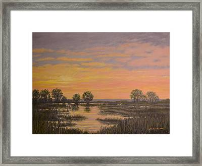 Framed Print featuring the painting Marsh At Sunset by Kathleen McDermott