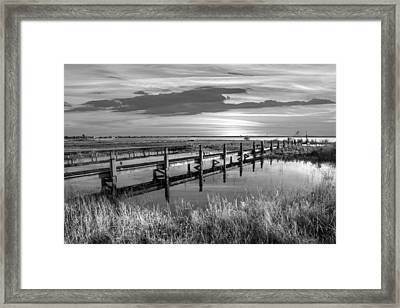 Marsh Harbor Black And White Framed Print by Debra and Dave Vanderlaan