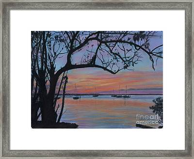 Marsh Harbour At Sunset Framed Print