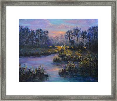 Marsh Sunset Nature Wetland Trees Print Of Panting Framed Print