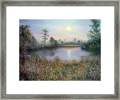 Marsh Wetland Moon Landscape Painting Framed Print