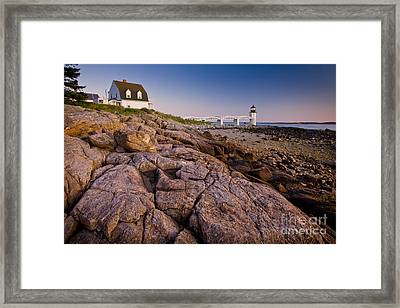 Marshal Point Light Sunset Framed Print by Susan Cole Kelly
