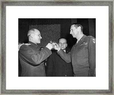 Marshall Koniev And Gen. Clark Framed Print by Underwood Archives