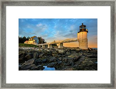 Marshall Point Light Aglow Framed Print