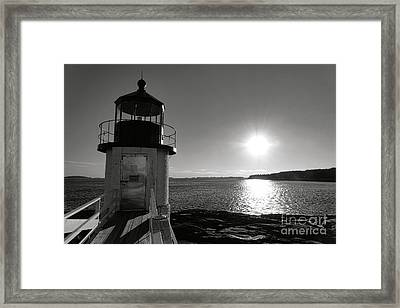 Marshall Point Light House At Sunset Framed Print by Olivier Le Queinec