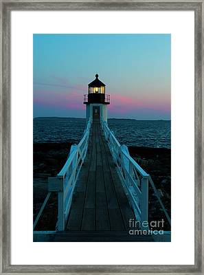 Marshall Point Lighthouse At Sunset Framed Print by Diane Diederich