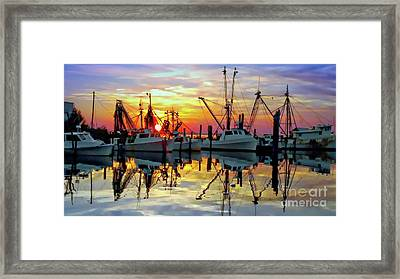 Marshallberg Harbor Sunset Framed Print