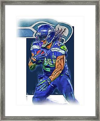 marshawn lynch SEATTLE SEAHAWKS OIL ART Framed Print by Joe Hamilton