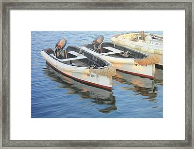 Framed Print featuring the photograph Martha's Vinyard Skiffs by Roupen  Baker